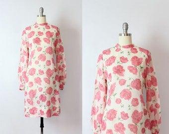vintage 50s floral dress / 1950s semi sheer cotton voile dress / pink white green floral dress / floral shift dress