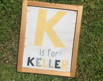 Baby name sign. Baby announcement, newborn sign, personalized sign. Alphabet name sign. Gender neutral