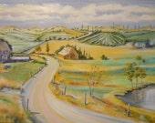 Serenity Farmland, Landscape Oil, Farmland Landscape, Willamette Valley Art, Oregon Country, House Barn Pond Hills, Dan Leasure Original Oil