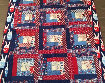 Americana Peace Red/White/Blue large lap quilt 48 x 61