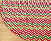 Red Green Chevron Christmas Tree Skirt - FREE Shipping, Made in USA, Zig Zag Stripe
