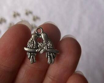 Love birds, wholesale lot of 10, silver love birds,