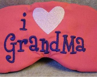 Embroidered Eye Mask, Sleeping, Cute Sleep Mask for Kids or Adults, Sleep Blindfold, Slumber Mask, Eye Shade, Love, Grandma Design, Handmade