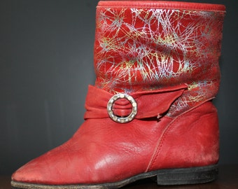 Kids Shoes Red Sparkles Bootie Italian Leather Shoes Girl's Shoes Cowboy Boots Silver Buckle Winter Boots Burgundy Leather Shoes Children