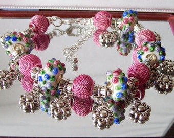 Pink and Blue Flower Charm Euro-Style Bracelet