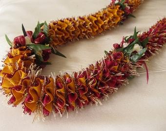 Hawaiian Ribbon Lei Burgundy-Yellow Gold Grosgrain with Sparkles