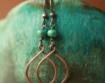 Turquoise and Copper Hoop Earrings/ Hoops/ Copper and Turquoise Earrings/ Turquoise Earrings/ Turquoise earrings/ Copper Earrings/ Earrings