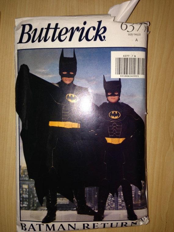 Vintage 90s Butterick 6377 Men's Batman Returns Costume Size XS-L