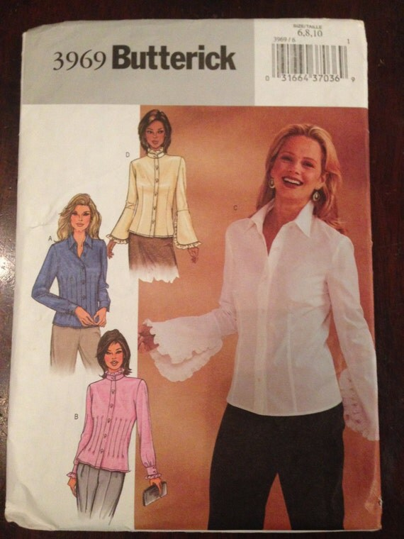 Butterick 3969 Sewing Pattern UNCUT Misses and Misses Petite Blouse Size 6-10