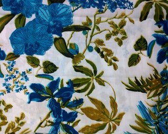 2 Yards Remnant Jungle Safari Soft Cotton Fabric Remnant / Block Printed Soft Cotton Fabric / Turquoise and Blue  Fabric Remnant