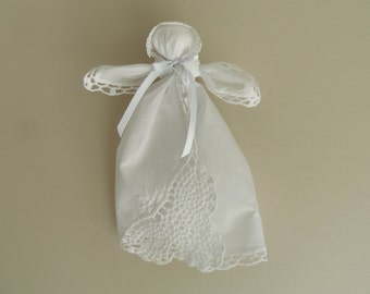Hanky Doll patterned after Civil War Doll Pew Doll Church Pew doll Handkerchief Doll Sugar Baby WHITE Crocheted lace Corner
