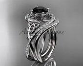 platinum diamond celtic trinity knot wedding ring, engagement set with a Black Diamond center stone CT7320S