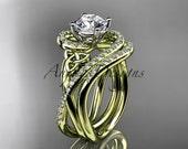 14kt yellow gold diamond celtic trinity knot wedding ring, engagement set CT7320S