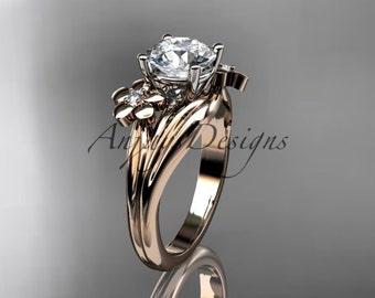 14kt rose gold diamond leaf and vine wedding ring,engagement ring ADLR159