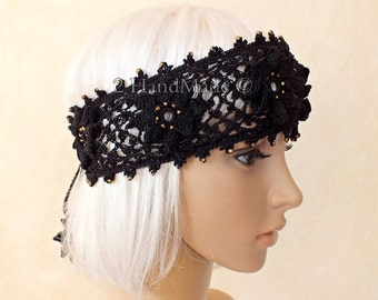 Black OOAK Irish Lace 3D Crochet Headband Dreadlock Head Wrap Boho Gold Glass Beaded Women Ivory Wedding Bridal Cotton Hair Snood