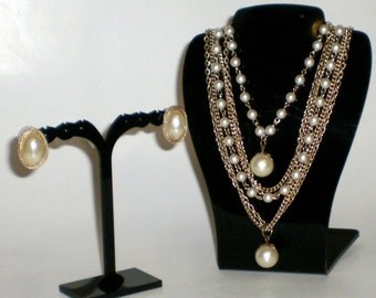 Pearls  Goldtone Chains Necklace & Earrings