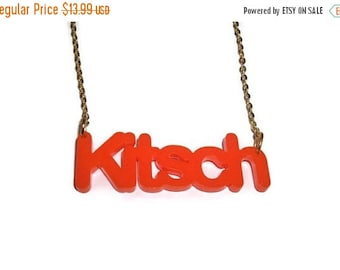 Orange Kitsch Necklace, Quirky Bright Word Pendent, Laser Cut Statement Piece, Perspex