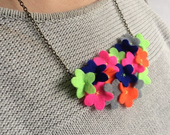 Daisy Patch Statement Felt Necklace