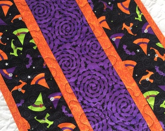 Halloween Witch Table Runner Quilt,  Witch Shoes, Hats Table Centerpiece, Black, Orange, Purple, Quiltsy Handmade