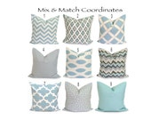 Blue Pillows.ALL SIZES.Pillow Covers.Decorative Pillows.Blue Throw Pillow Covers.Blue Housewares.Flower.CrissCross.Ikat.ZigZag.cm.Solid.Gray