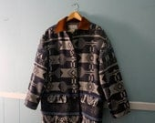 ON SALE Men's Vintage Southwestern Coat / Fall Winter Lined Blanket Coat In Blue and Grey / Made in Ukraine  / Size small