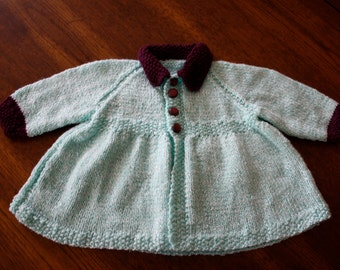 Vintage handknit baby cardigan sweater / mint green and purple knit matinee sweater / newborn infant 0 to 12 months