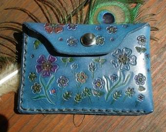 hand tooled leather wallet for credit cards /coin purse /tooled leather