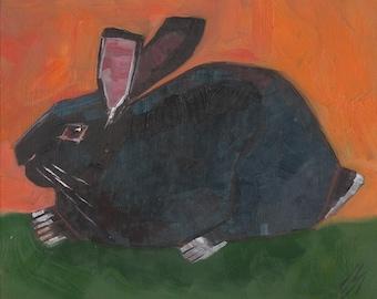 Black Rabbit Original oil Painting