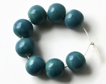 8 Large Handmade Ceramic beads, blue beads, African Beads, handmade ceramic beads, teal beads, clay beads, made in South Africa, large beads