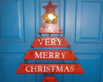 Christmas Door Hanging, Ornament Wreath, Plank Art, Rustic Christmas Decor, Holiday Decor, Hoilday Wreath, Holiday Sign , Christmas Sign