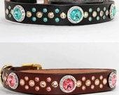 "Design Your Own Rivoli Swarovski Crystal Dog Collar, 1"" Wide Dog Collar"