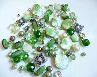 BULK Swarovski Crystal & Sliders-Swarovski Cross Pendant Crystal AB-Bicone-Fw Pearl-MOP-Czech- Green Twisted Barrels -4-18mm-Over 144 beads