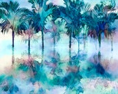 Large Palm Art, Palm Canvas, Blue Palms, Palms, Caribbean, Palms Trees, Modern Tropical Decor, Reflections, Palm Painting, Ready to Hang