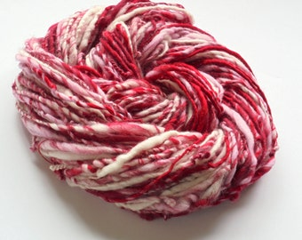 Handspun Yarn - PEPPERMINT - DK-Weight Single-Ply Handspun Yarn - 94 yards and 2 ounces