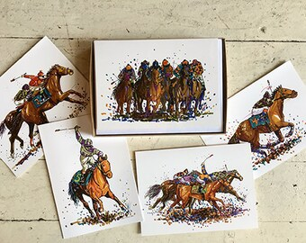 Set of 15 Horse Racing Note Cards- Derby Party invitations