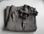 Dark grey linen half apron made of softened fabric. Unisex apron.