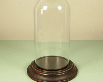 Glass Dome Display - Dark Wood Base 6 Inch Height