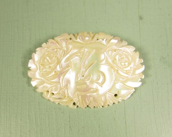 Oriental Symbol MOP Brooch - Vintage Mother Of Pearl Carved Characters