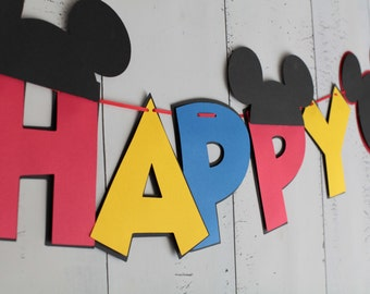 Mickey Mouse Birthday Banner Red, Blue, Yellow, Black