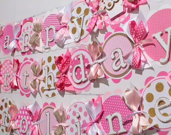Cupcake Happy Birthday Banner, 1st Birthday Banner, Cupcake Birthday Party, Candy Birthday Party, Sweets Table Decorations, Pink and gold