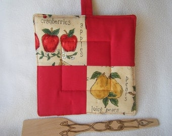 Quilted Fruit and Red Potholder or Trivet