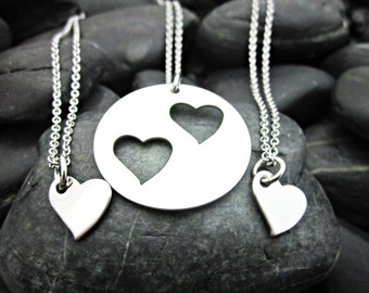 Mother Daughter 3 Piece Heart Necklace Set - Mother's Day - Gift for Mom