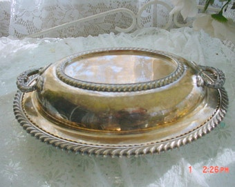 Silver Covered Entrée Dish with Lid Gadroon Trim Vintage