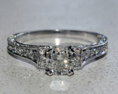 GIA Diamond Engagement Ring 2.61 CTW 18k W/G Pave Style Cushion & Round Cut