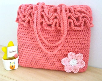 Crochet Bag Pattern, Crochet Frilly Bag Pattern, Girls Crochet Bag Pattern, Girls Crochet Purse Pattern, Little Girls Frilly Bag PDF Pattern