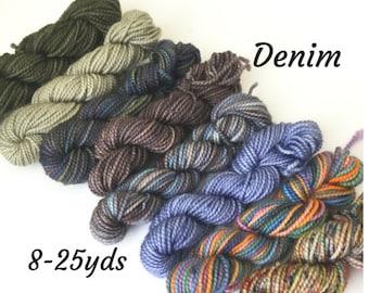 Denim,  8 Sock Yarn Mini Skeins, 25 yds each, 200 yds total