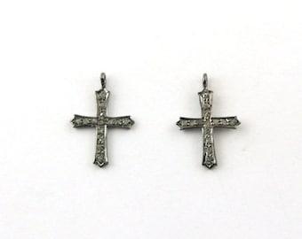 2 Pcs Pave Diamond Cross Charm 925 sterling Silver Pendant - 19mmx13mm