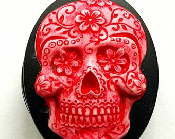 Bright Red Sugar Skull Badge REEL retractable ID Card Nurse Key CAMEO Teacher