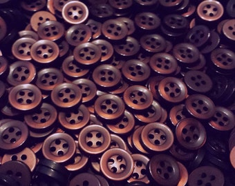 Mahogany Brown Shirt Buttons, size 10mm (3/8 inch) - matching set of bulk sewing buttons with gift wrap