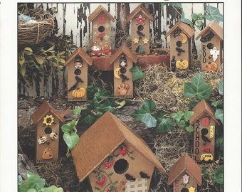 """Clearance-""""Holiday Birdhousing"""" Counted Cross Stitch by Cinnamon Heart Needleworks"""